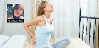 bel ağrısı olan kadın yatakta